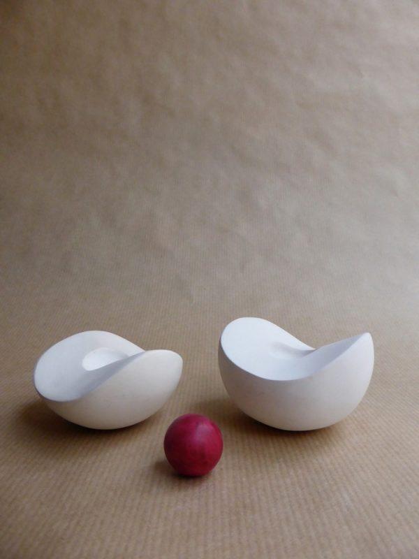 1 sculpture de poche Boule dans boule blanche 2 2014
