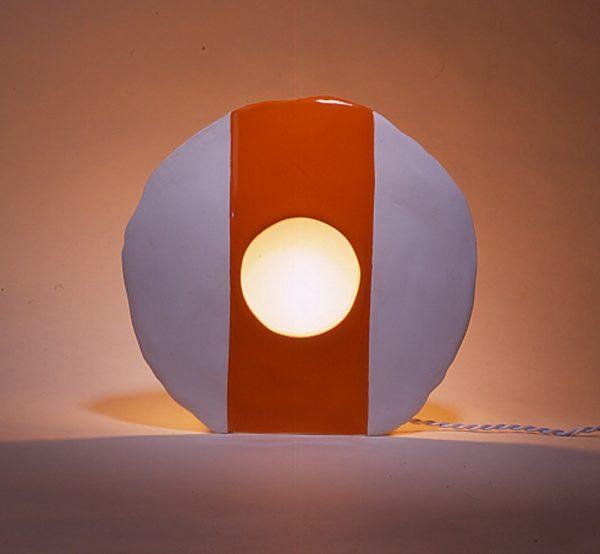 Lampe O blanc bande orange_David Japy
