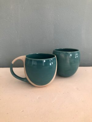 Mug et bol bleus