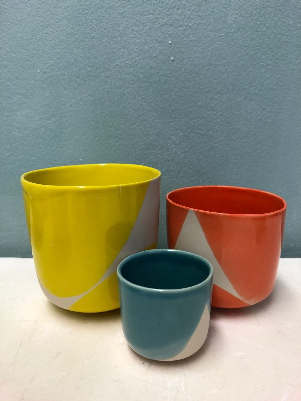 Tasses jaune-bleu-orange Trempette 2018