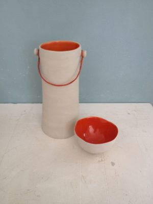 Vase int. orange anse metal 2018