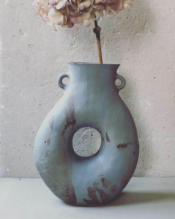 Vase -Trou- grès roux émail gris-bleu verso 2021